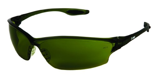 Crews LW2150 Law 2 Polycarbonate Green Filter 5.0 Lens Safety Glasses with Bayonet Temple, 12-Pair
