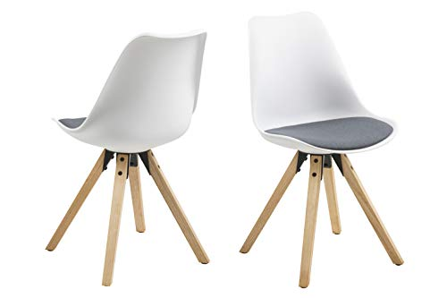 Eine Marke von Amazon - Movian Arendsee - Set aus 2 Esszimmerstühlen, 55 x 48,5 x 85 cm, Weißer Kunststoff, grauer Stoff, eichenfarben gebeizte, ölbehandelte Beine aus Kautschukholz