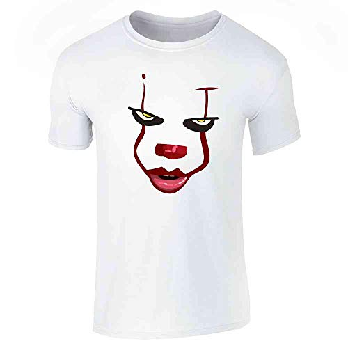 Pop Threads Clown Face Horror Scary Movie Halloween Costume White XL Graphic Tee T-Shirt for Men