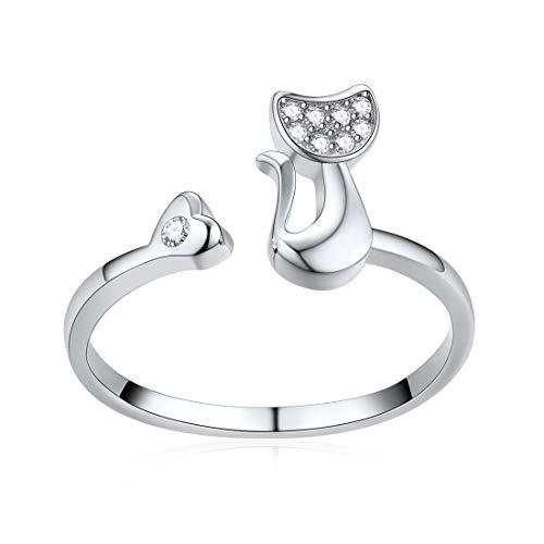 ChicSilver Niedliche Katzen-Ringe für Frauen Mädchen 925 Sterling Silber Schmuck CZ offen Tier Ring Weihnachten Geburtstag Geschenk … …