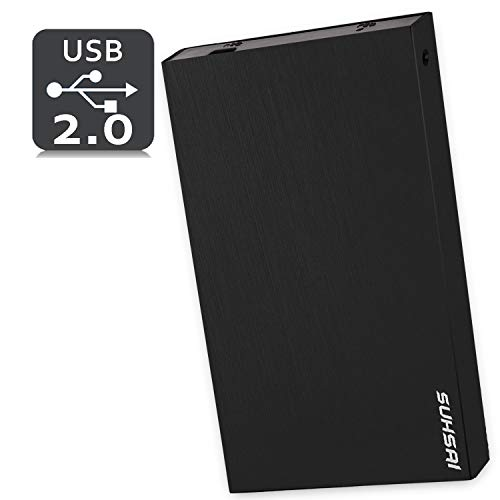 Suhsai Disco Duro Externo Portátil, 2.0 USB Disco Duro Externo Compatible para Ordenador, Portátil, PC, Smart TV, Mac (Negro, 200GB)
