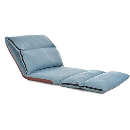 Tela Lazy Couch Single Plus Couch Sillón reclinable Silla de salón Plegable extraíble y Lavable Silla con Ventana de Playa Tumbona de Playa multifunción Soporte de Carga 120 kg (Color: Azul