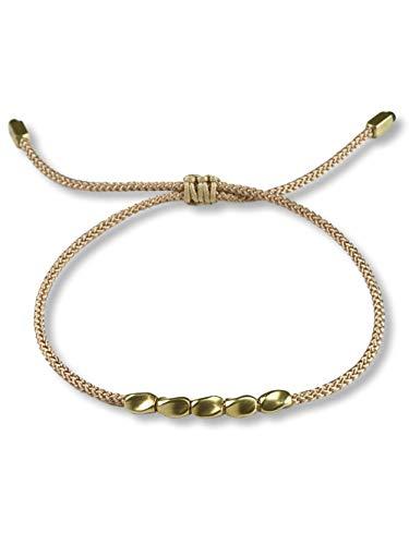 BENAVA Tibet Armband Stoffarmband geflochten mit Kupfer Perlen Braun Beige | Minimal Freundschaftsarmband | Handmade Buddhistischer Boho Schmuck | Ideal als Geschenk für Freundin Paare oder Pärchen