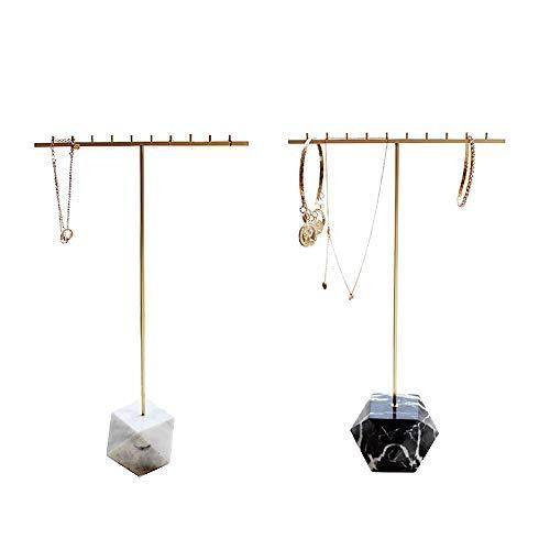 Cobeky 2 soportes de acero para exhibición de collares de mármol natural poligonal, soporte de joyería de oro, soporte para joyas negro y blanco