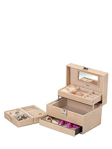 IsmatDecor - Elegante Caja Joyero - Joyero Grande para Mujer - Espejo, Cierre con Llave y Mini Estuche de Viaje – Organizador de Joyas Estilo Cofre – Cuero sintético Color Beige