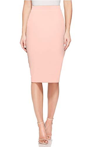 H HIAMIGOS Jupe Moulante Femme Taille Haute Jupe Crayon Mi-Longue en Maille Rose XL