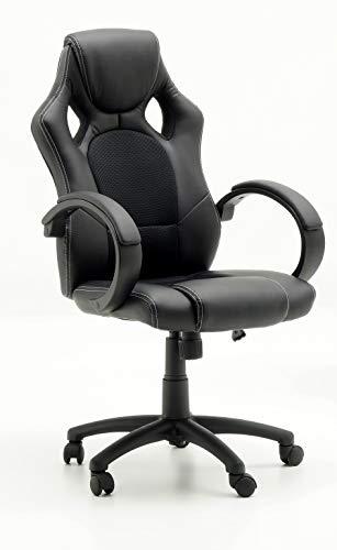 Robas Lund Bureaustoel, zwart, managersstoel, gamingstoel, in hoogte verstelbaar met kantelfunctie, Ricky, BxHxD 60 x 107-117 x 72 cm