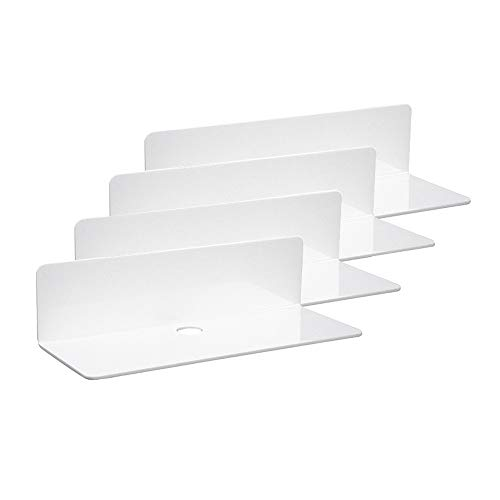 IEEK 9 Inch Acrylic Floating Shelves Set of 4,Small Wall Display Shelf for Bluetooth Speakers/Security Cameras/Nintendo Switch/Action Figures ,Damage-Free Wall Shelves Stick-On Shelf,White
