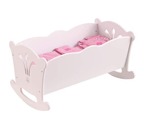 KidKraft- Cuna de madera de juguete con ropa de cama rosa, p