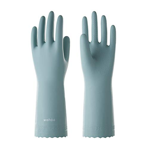 LANON Wahoo PVC Household Cleaning Gloves, Reusable Unlined Dishwashing Gloves, Non-Slip, Small