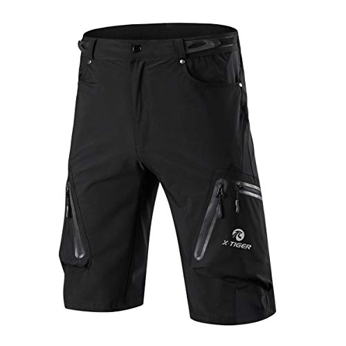 X-TIGER Mens Mountain Bike Shorts,Cycling MTB Cargo Shorts with 7Pocket,Loose-Fit Quick Dry Black