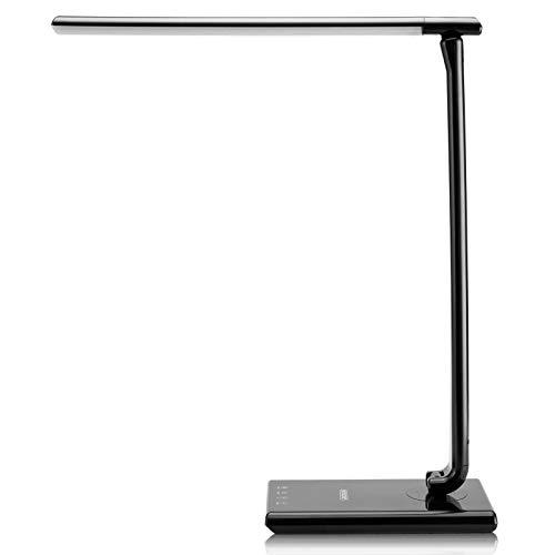 Monzana LED Schreibtischleuchte Schwarz 5 Helligkeitsstufen Touch 12W Ladeanschluss 560lm dimmbar Schreibtischlampe Büro