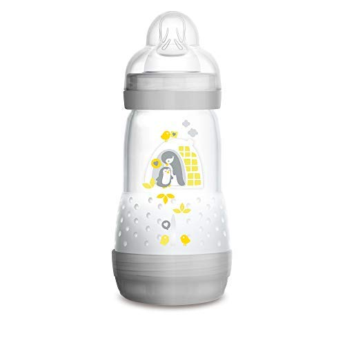 MAM Easy Start Anti-Colic Bottle 9 oz (1-Count), Baby Essentials, Medium Flow Bottle with Silicone Nipple, Baby Bottles for Baby Boy or Girl, Gray