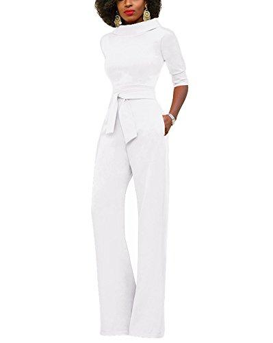 Minetom Femme Chic Rompers Combinaison Col Rond Manches Courtes Jumpsuit Longue Pantalon avec Ceinture de Soirée Blanc FR 40