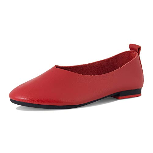 SUNROLAN Women's Seasonal Leather Casual Slip-On Flat Shoes Outdoor Comfort Sandals Loafers (7 B(M) US, 8807-red)