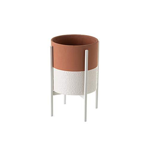 Macetero con pie de Metal pequeño de cerámica Terracota rústico, de ø 14x20 cm - LOLAhome