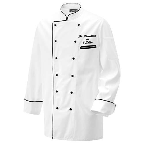 Nashville print factory Kochjacke Bäckerjacke Jacke weiß mit Farbiger Paspel inklusive Knöpfe mit Name/Text Bestickt (L, Paspel schwarz)