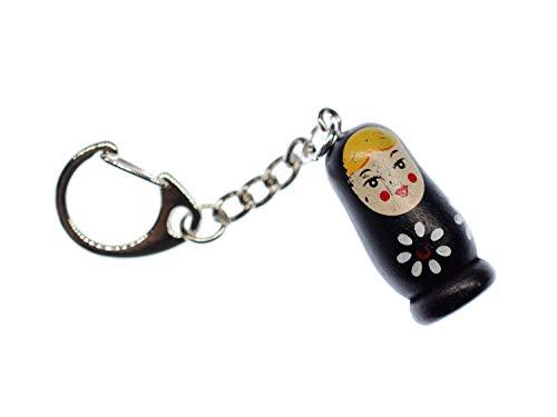 Miniblings Babuschka Schlüsselanhänger Matroschka Puppe Russland Holz Schwarz