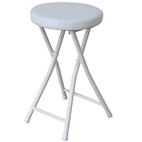 CYY Round Portable Foldable Bar Stools with Metal Footrest,High 20inch PU Leather Padded Chair,for balcony kitchen outdoor(Loadable 130kg)