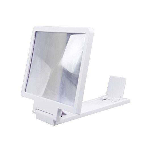 WUYUESUN 3D Pantalla del teléfono móvil Lupa amplificadora HD Soporte de la película de Video de Escritorio Plegable de 5,5 Pulgadas Soporte Smartphone Amplificador (Color : White)