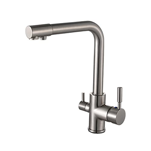 Solepearl 3 Way Kitchen Mixer Taps with Drinking Water Filter Tap, Solid Brass Dual Handle Cold and Hot Water Kitchen Mixer Filter Tap for Under Sink Water Filter System, Brushed Nickel