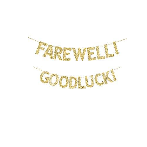 Farewell! Goodluck! Banner, Farewell/Leaving/Graduation Party Gold Gliter Paper Sign