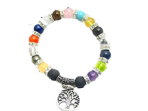 JEB Jet Energy Bracelet Power Negative Ions Tree of Life Lava Men Women Stretch Balancing Positive Energy Aura Metaphysical Peace Divine Spiritual Love Harmony Luck Jet Image is JUST A Reference