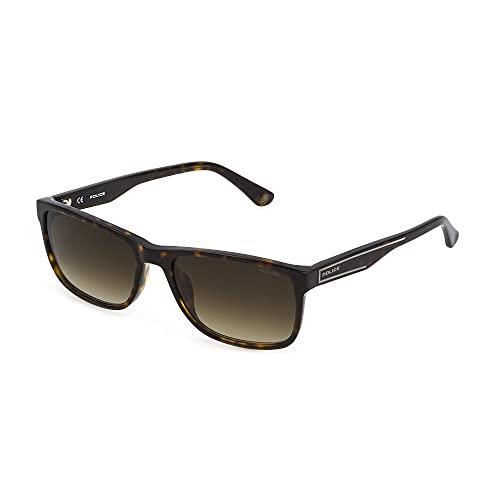 Police Gafas de sol Arcade 2 SPLB40N 0722 56 – 17 – 140, unisex, color marrón oscuro brillante