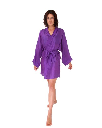 The House of Silk Longueur genou mélange de soie kimono - taille: XL-XXL - couleur: violet