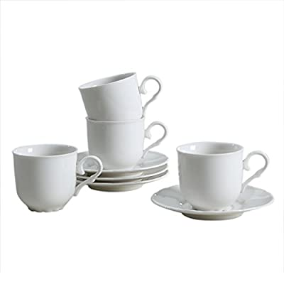 SOLECASA White Porcelain/Ceramic TeaCup,Coffee Cup and Saucer Set