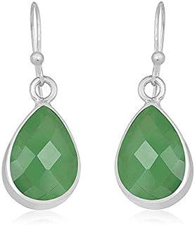 Plata de ley 925, pendientes colgantes, pendientes de perlas de ónix verde, pendientes colgantes Plata Aretes, Sterling Silver Earrings for Women