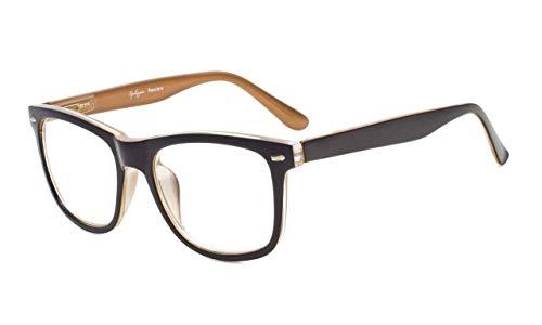 Eyekepper Damen und Herren lesebrillen mit Große Quadratische Gläsern und Federscharniere in Schwarz-Braun +1.25