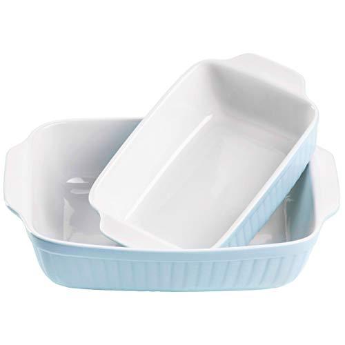 Mäser 931135 Serie Kitchen Time, Auflaufformen rechteckig im 2er Set, eckige Ofenformen, ideal auch für Lasagne, kratz- und schnittfest, Keramik, 33 x 24 x 8 cm / 25,5 x 16 x 7 cm, Blau
