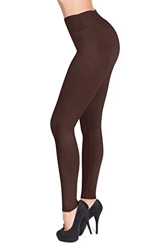 SATINA #1 High Waisted Buttery Soft Leggings | Regular and Plus Size | 22 Colors (One Size, Brown)
