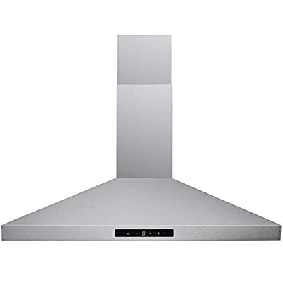 CAVALIERE SV168B2 30 inches Wall Mount Stainless Steel Range Hood 400CFM Ducted Exhaust Vent, 3 Speed Fan & Push Button/Touch Sensitive Control Panel