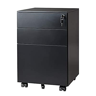 DEVAISE Locking File Cabinet, 3 Drawer Rolling Pedestal Cabinet, Fully Assembled Except Caster