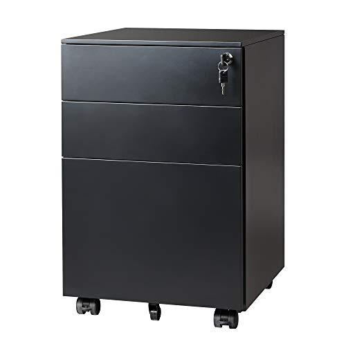 DEVAISE Locking File Cabinet, 3 Drawer Rolling Pedestal Under Desk, Fully Assembled Except Casters, Black
