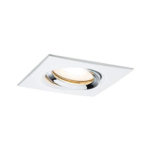Paulmann 92904 Einbauleuchte LED Nova Einbaustrahler eckig Spot IP65 strahlwassergeschützt 7W 1er-Komplettset inkl. GU10 Leuchtmittel Weiß schwenkbar