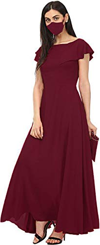 LSZ Women's Solid Ruffled Full Long Dress Gown with mask