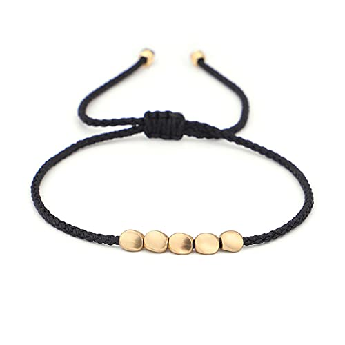 menghui Bracelet New Tibetan Buddhist Creative Copper Beads Red Black Rope Bracelets for Women Men Handmade Lucky Knots Thread Bracelets (Metal Color : 4)