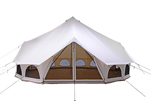 WHITEDUCK 23' Avalon Optimus Canvas Bell Tent – w/Stove Jack Waterproof, 4 Season Luxury Outdoor Camping & Glamping Yurt Tent Made from Premium & Breathable 100% Cotton Canvas (Water Repellent)