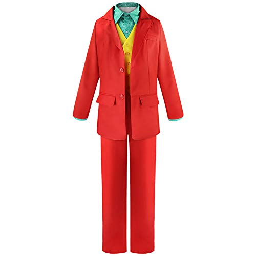 The Joker Costume in Halloween Cosplay Party Joaquin Phoenix Retro Red Joker Outfit Suit for Men and Kids (X-Large)