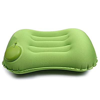 Emoly Ultralight Inflatable Camping Pillow - Compressible, Comfortable for Sleeping While Traveling, Hiking, Backpacking, Ergonomic Inflating Camping Pillows for Neck and Lumbar Support (Green)