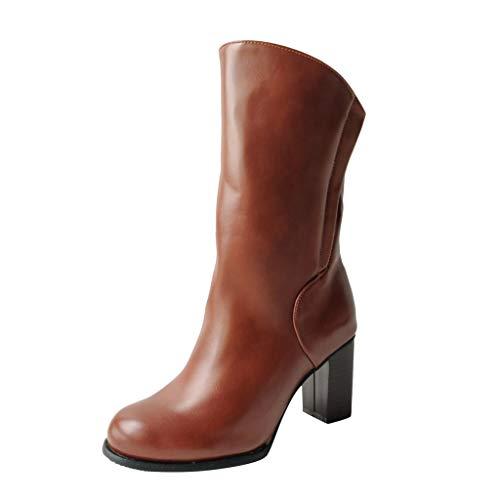Damen Stiefel Kolylong® Frauen Mittlere Stiefel mit Blockabsatz High Heels Elegant Reitstiefel PU Leder Stiefeletten Winter Warm Schuhe Seitlicher Reißverschluss Freizeitstiefel Westernstiefel
