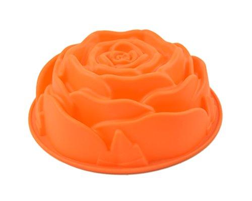 """Longzang XJ134 9"""" Rose Flower Birthday Cake Bread Tart Flan Silicone Baking Mould Tin Bakeware, L"""