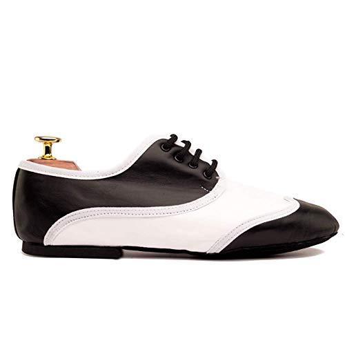 Manuel Reina - Zapatos de Baile Latino Hombre Jazz Oxford Black & White- Bailar Bachata y Salsa - Zapatos de Jazz
