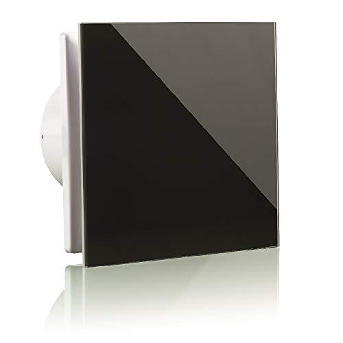 Vlano A-GLAS Badlüfter Raumlüfter Hauslüfter Echtglas Front/Glasfront Kugellager Rückschlagklappe (125 Standard, schwarz/black)