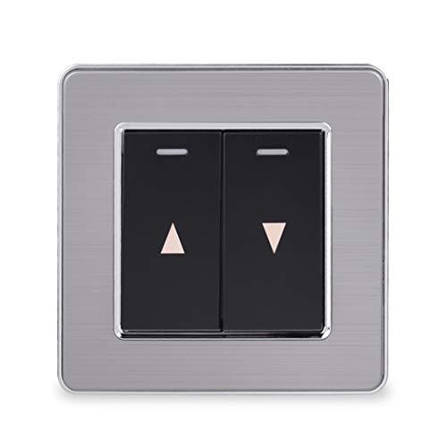 Interruptor de cortina Interruptor de pared para equipo de elevación de cortina eléctrica Panel de acero inoxidable Black 2-Gang