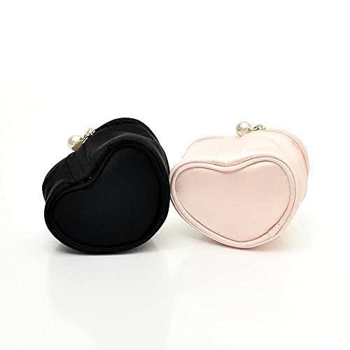 Serrale Caja de joyería portátil de viaje bolsa de joyería en forma de corazón de helado bolsa de almacenamiento de joyería con bordado de perlas