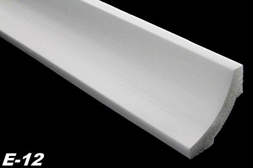 Zierleisten Sparpaket E-12-NK | inkl. vorgefertigte Ecken | leicht und stabil | extrudiertes Styropor | Stuckprofile | modern weiß | dekorativ | XPS | 50 x 50 mm | 30 Meter + 4 Ecken